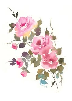 Rose Blooms II Watercolor by Anja Boban Watercolor Paintings Abstract, Watercolor Rose, Watercolor Print, Watercolor Illustration, Watercolor Portraits, Abstract Oil, Watercolor Landscape, Painting Art, Landscape Paintings