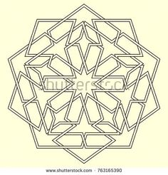 Islamic pattern. Geometric lattice mandala in arabic style. Oriental ornament. Mosque decoration element. Muslim mosaic. Arabesque.  Coloring book page. Persian motifs.