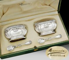 Puiforcat: Boxed French Sterling Silver & Vermeil Salt Cellars & Spoons Set where I keep my weed. 925 Silver Bracelet, Sterling Silver Earrings, Gemstone Earrings, Vintage Silver, Antique Silver, Silver Pooja Items, Silver Cutlery, Silver Plate, Tea Service