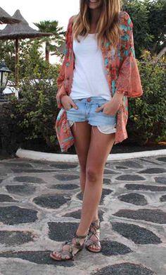 Distressed shorts and kimono