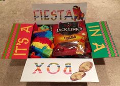 """""""It's a fiesta in a box"""" Care Package for military or college - Cinco De Mayo care package - medium flat rate box - filled with mini pinata, and snacks! Sent to Adopt a US Soldier/Project Front Lines. Missionary Care Packages, Deployment Care Packages, Missionary Mom, Deployment Gifts, Homemade Gifts, Diy Gifts, Soldier Care Packages, Care Box, Care Care"""