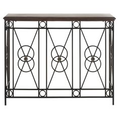 An eye-catching addition to your foyer or living room, this stylish console table showcases a birch wood top and an openwork iron base in bronze.