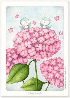 "art print – blue bird – hydrangeas – Illustration – floral – illustration – friends – garden – ""On Top of the World! Floral Illustrations, Children's Book Illustration, Wall Art Prints, Canvas Prints, Big Canvas, Framed Prints, Arte Country, Copics, Whimsical Art"