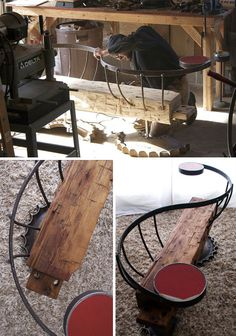How about a bench built from 1800s farmhouse beams, a broken bulldozer sprocket, some gang mower axles, remnants of a recycled silo, a steel wagon wheel … and perhaps part of a stop sign to round it all out?
