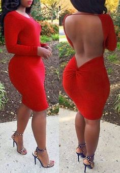 Long Party Dresses - Attractive Red Long Sleeve Bodycon Backless Dress For Women - Winter is here, and with it the latest fashion trends Sexy Outfits, Sexy Dresses, Cute Dresses, Beautiful Dresses, Cute Outfits, Fashion Outfits, Ladies Party Dresses, Curvy Fashion, Look Fashion