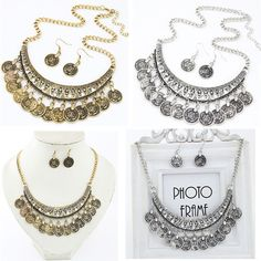 Simple Silver Metal Spike Bead Coin Rhinestone Chain Bib Necklace Earrings Set-in Jewelry Sets from Jewelry & Accessories on Aliexpress.com | Alibaba Group