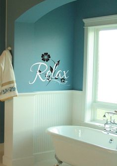 Relax Bathroom Vinyl Lettering Vinyl Decal by JustTheFrosting, $17.00