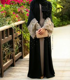 Lulu lace abaya-annahariri Good for wedding Fawn and black abaya