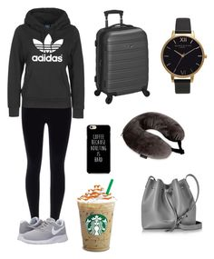 """traveling in style"" by scollias on Polyvore featuring NIKE, adidas, Rockland Luggage, Samsonite, Lancaster and Olivia Burton"