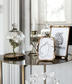 Dome in clear glass with a metal plate. | H&M Home