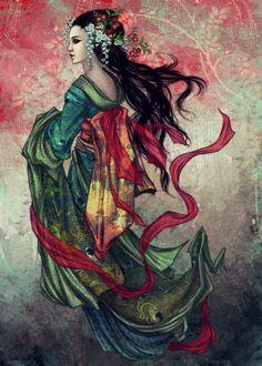 Geisha Art — worx - A collection of Geisha inspired artworx. [know more about Geisha] Geisha Kunst, Geisha Art, Geisha Drawing, Samurai, Fantasy Women, Fantasy Art, Koi, Devian Art, Chinese Art