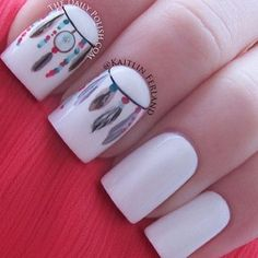 love the feather and hippie nails inspiration Hood Hood Goodson Gorgeous Nails, Love Nails, How To Do Nails, Pretty Nails, Fun Nails, Style Nails, Dream Nails, Dream Catcher Nails, Nagel Bling