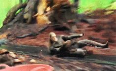 (gif) Now that we've seen what the finished product looks like, remember this behind the scenes look of Legolas sliding?  ~ The Desolation of Smaug