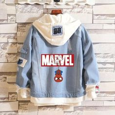Description Selected denim fabric with embroidered Spider-Man and Marvel logo on. - Description Selected denim fabric with embroidered Spider-Man and Marvel logo on back, it feels so - Hoodie Outfit Casual, Sweatshirt Outfit, Turtleneck Outfit, Varsity Jacket Outfit, Style Outfits, Cute Outfits, Nerd Outfits, Denim Outfits, Fashion Outfits