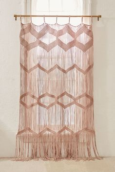 Shop Meadowsweet Macramé Panel at Urban Outfitters today. Moroccan Decor Living Room, Living Room Decor Curtains, Hanging Wall Vase, Window Hanging, Macrame Curtain, Curtain Designs, Curtain Ideas, Shabby Chic Kitchen, My Living Room