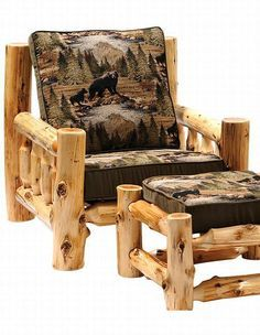 We carry this cedar log lounge chair and ottoman and other fine log furniture from Fireside Lodge. Browse our rustic furniture catalogs now. Rustic Log Furniture, Diy Garden Furniture, Rustic Chair, Furniture Plans, Rustic Wood, Furniture Decor, Rustic Decor, Furniture Design, Cedar Furniture