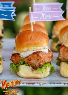 Mini Salmon Sliders w/ Garlic Lemon Aioli - Martins Famous Pastry Shoppe Salmon Recipes, Fish Recipes, Seafood Recipes, Appetizer Recipes, Cooking Recipes, Sandwich Recipes, Yummy Recipes, Salmon Sliders Recipe, Breads