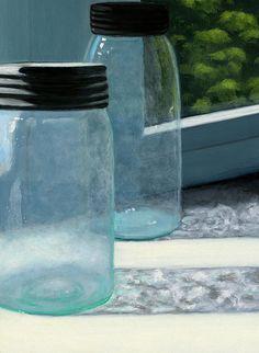 Mason Jars by Karyn Robinson Daily Painters, Ball Jars, Window Art, Painted Mason Jars, Realism Art, Blue Art, Kitchen Art, Art For Sale, Wood Art