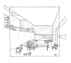 Image 6 of 30 from gallery of A Selection of the Best Architecture Sketches: Alberto Campo Baeza. Photograph by Alberto Campo Baeza Space Architecture, Architecture Drawings, Amazing Architecture, Contemporary Architecture, Le Corbusier, Architect Sketchbook, Rendering Techniques, Concept Draw, Single Line Drawing
