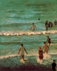 """huariqueje: """"  The Bathers , Dieppe - Walter Richard Sickert , 1902 English, 1862-1940 Oil on canvas, 131.5 cm (51.77 in.) x 104.4 cm (41.1 in.) """""""