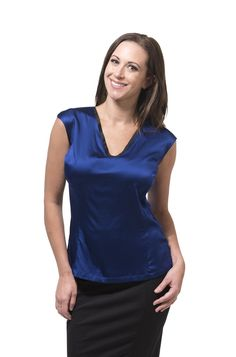An essential v-neck silk top that fits your big boobs and your torso with no pulling. A body skimming fit for DD to JJ. V Neck Blouse, Professional Women, Princess Seam, Black Trim, Work Fashion, Girl Boss, Silk Top, Cap Sleeves, Sapphire