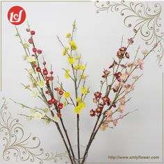 SFB34005 Hot Sales Indoor Single Faux Flower Artificial Wedding Floral Dried Plum Blossom Plastic Dry Tree Branch Fake Plants
