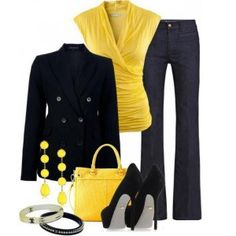 Love the bright yellow and style of the shirt and the earrings, too!
