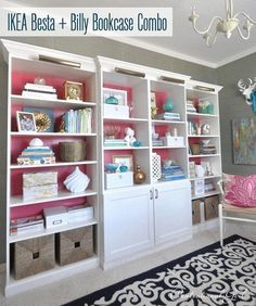 Create a built-in bookshelf wall in your living room by mixing together Billy and Besta. | 37 Cheap And Easy Ways To Make Your Ikea Stuff Look Expensive