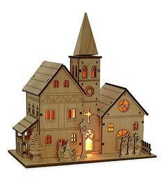 PREMIER DECORATIONS Light up wooden church 21cm