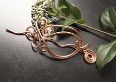 Copper wire hair slide,barrette, copper hair accessories, £10.00