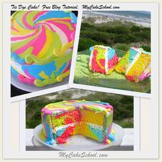 Tie Dye Cake Tutorial~MyCakeSchool.com