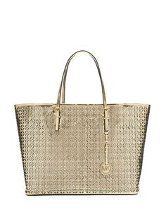 MICHAEL MICHAEL KORS Perforated Leather Floral Medium Travel Tote Bag