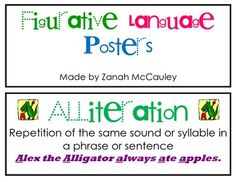 These figurative language cards have been updated!!! They are a great resource to display in your room while you are teaching. Each card has the type of figurative language, the meaning, an example, and two small pictures to go along with the saying. Students will be able to refer back to these cards while learning figurative language. The cards are colorful and inviting. The figurative language cards include personification, alliteration, idiom, onomatopoeia, simile, hyperbole, and metaphor.