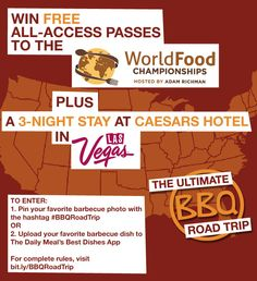 Win 2 All-Access Passes to the World Food Championships & a 3-Night Stay in Las Vegas Nov 1-4! (Click for details!) #sweepstakes #BBQRoadTrip