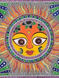 Sun Madhubani Painting -10.2in x 11in