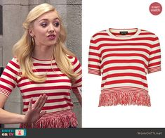 Emma's red striped top with fringed hem on Jessie.  Outfit Details: http://wornontv.net/48328/ #Jessie