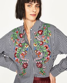 Image 2 of EMBROIDERED GINGHAM SHIRT from Zara