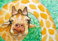 Giraffe Painting Animal Illustration Nursery Art by KURONINJIN