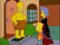 Are you wearing a grocery bag?  - I have misplaced my pants.   @simpsons_tweets