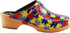 Vibrant puzzle piece colors offer One Step at a Time- supporting autism awareness with these clogs!