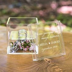 Personalized Acrylic Ring Box - This sophisticated simple ring box features a woodland inspired monogram, a separate compartment, and room for two wedding rings. Add rustic moss, leaves or twigs to the bottom compartment to compliment the fairy tale woodl Wedding Ring Box, Wedding Boxes, Personalised Box, Personalized Wedding, Woodland Wedding, Rustic Wedding, Wedding Decor, Wedding Ideas, Wedding Catering