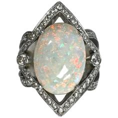 Buy online, view images and see past prices for Large Opal Diamond White Gold Cocktail Ring. White Gold Opal Ring, Antique Rings For Sale, Opal Rings, Diamond Rings, Vintage Engagement Rings, Cocktail Rings, Diamond Cuts, Jewelry Rings, Jewellery