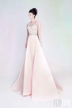 """Rami Kadi - Couture - """"Les jardins suspendus"""", S/S 2013 Hand Embroidered Silk Shantung Pink Long Dress"""