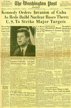 The Cuban missile crisis was a 14-day confrontation in October, 1962, between the Soviet Union & Cuba & the U.S. The crisis is regarded as the moment in which the Cold War came closest to turning into a nuclear conflict & is the first documented instance of mutual assured destruction (MAD) being discussed as a determining factor in a major international arms agreement. The confrontation ended on 10/28/1962, when Kennedy & UN Secretary-General U Thant reached an agreement with Khrushchev.: