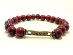 Love Bracelet Wooden Bracelet Beaded Bracelet by ShamisesBlissful