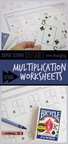 Super clever math activity that uses free math printable and a deck of dards to help kids practice MULTIPLICATION with these ever changing worksheets! 5th Grade Math Games, Easy Math Games, Math Card Games, Math Activities For Kids, Third Grade Math, Division Activities, Teaching Resources, Free Multiplication Worksheets, Printable Worksheets