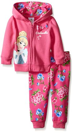 Disney Baby-Girls Newborn 2 Piece Cinderella Fleece Hoodie Set, Pink, 0-3 Months