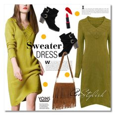 """Sweater Dress"" by svijetlana ❤ liked on Polyvore featuring Lipstick Queen, women's clothing, women's fashion, women, female, woman, misses, juniors, polyvoreeditorial and sweaterdress"
