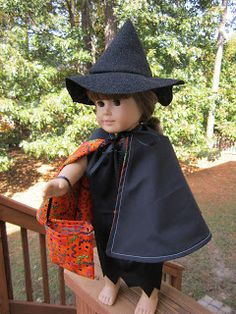 Get your doll ready for Halloween with an easy peezy witch costume. Halloween Witch Costume -   Hat,  Dress,  Cape,  Treat Bag.