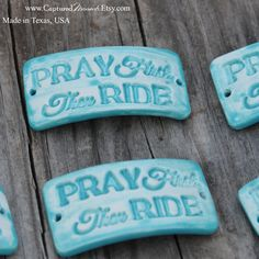 Pottery cuff bead, Pray First in Aqua Fresca by CapturedMoments on Etsy